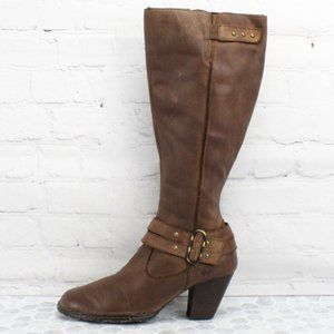 BORN Brown Leather Mid Calf HighHeel Boots Sz 7.5